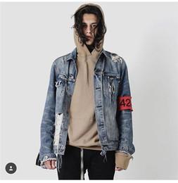 Fashion Long Sleeve Dark Washed Holes Men Denim Jackets   Hip Hop Distressed Ripped Damaged Cuff Zipper Men Denim Coats Dark Light Blue M-XL