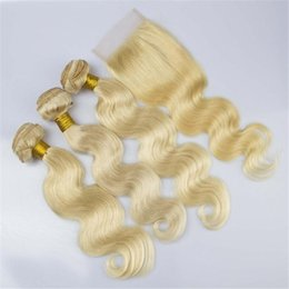 Body Wave Blonde Hair With Closure 4X4 Free Midlle Three Part Brazilian Hair Weaves With Lace Closure Color 613 4Pcs Extensions 7A
