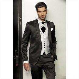 Groom Tuxedos wedding suits for men Best man Suit Wedding Groomsman Men Suits Bridegroom (Jacket+Pants+Vest) handsome fashion style