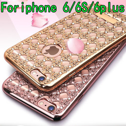 Luxury shining Diamond case for apple iphone 6 6plus Soft Plating TPU Protective back cover for iphone 6S 6S PLUS shell