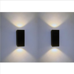 2*7W Dimmable COB LED Outdoor Wall Lamp IP67 Mounted Outdoor Cube LED Wall Light,Black up and Down Wall Light ,Free Shipping