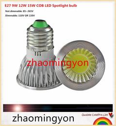 YON E27 GU10 E14 GU5.3 dimmable 9W 12W 15w COB AC110V 220V High Power Led cob Light Bulbs Warm white cold white white LED LAMP 1pcs