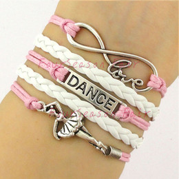 Wholesale Custom Love Dance to Infinity and Beyond Bracelet Dancer Dancing Wrap Bracelet Ballerina Ballet Dancer Adjustable Bangles Drop Shipping