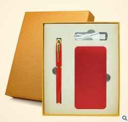 Wholesale Portable Power Bank USB Backup Powerbank Universal Mobile Phone With Luxury Gold Color Signature Pen Business Gift Package
