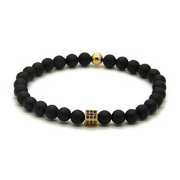 Wholesale Summer Lady Jewelry Fashion Brand 6mm Matte Agate Stone with Micro Inlay Black Zircons Square Cz Beads Bracelets