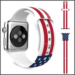 Wholesale Newest USA UK Flag Silicone Strap Soft Rubber Design Straps Multicolored Wristband Replacement Sports Silicone Bracelet For apple watch