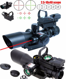 New Tactical 2.5-10X40 Rifle Scope w Red Laser & Holographic Green Red Dot Sight
