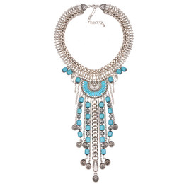 Wholesale Silver Plated Chunky Tribal Ethic Turky Boho Necklace Bohemian Coin Tassel Collar Necklace Brazil Hot Selling Jewelry