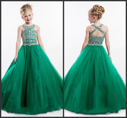 Wholesale Beautiful Show Crystals Prom Dress Long Backless Pearls Pageant Gowns For Teens Pageant Gowns Kids