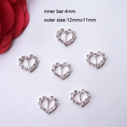 (J0005-4mm inner bar) heart rhinestone buckle for wedding invitation,tiny products,silver or gold plating