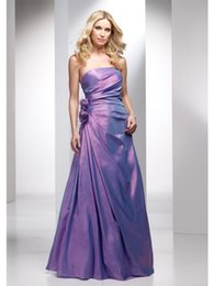 Wholesale Classic Strapless Flowers Waist A Line Lavender Taffeta Evening Dresses Cheap Fall Collection