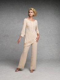 Elegant Sexy Mother of The Bride Pant Suits Dresses With Long Sleeves Chiffon Gowns Party Dress