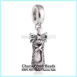 Wholesale crown bracelets Silver Ballet Slipper Dangle Charm ale sterling silver charms loose beads diy jewelry for thread bracelet DF550