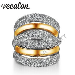 Vecalon 234pcs Topaz Simulated diamond Cz Cross Engagement Wedding ring for Women 14KT White Yellow Gold Filled Female Band ring