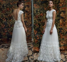 Wholesale Lihi Hod Bridal Aria Cap Sleeve Wedding Dress Lace Embellished Bodice Skirt Belt Custom Make Boho Beach Wedding Gown