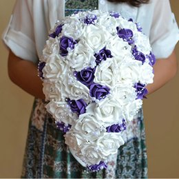 New wedding bouquet bridal waterfall bouquet silk rose bouquet purple Bride 's artificial flower wedding decor h-0030
