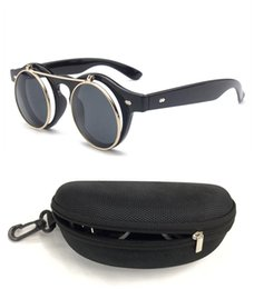 Wholesale Double flip VINTAGE STEAMPUNK Sunglasses round Designer steam punk Metal OCULOS de sol women COATING SUNGLASSES Men Retro CIRCLE SUN GLASSES