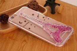 Luxury Bling Diamond Eiffel Tower Paris Liquid Glitter Quicksand Case For iphone 6 6S Plus Soft TPU Clear Transparent Back Cover