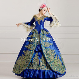 Wholesale 2016 Royal Blue Palace Catwalk Dance Costume Women Vintage Victorian Party Dress Marie Antoinette Masquerade Ball Gowns
