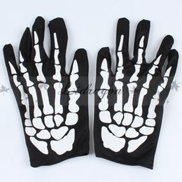 Wholesale Skeleton Table - Fedex DHL Free Hallowen Performance Dance Skeleton Gloves Devil Skull Gloves Punk Pure Black Finger Against UV Short Gloves Z492