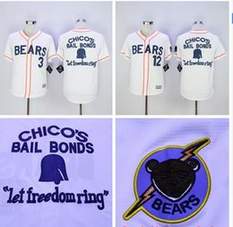Wholesale Bad News BEARS Movie Button Down Jersey Stitched Bad news BEARS Chicos Bail Bonds Retro Throwback Baseball Jersey White