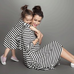 Wholesale 2016 New Balck Striped Mother And Daughter Dresses Casual Family Matching Outfits Spring Summer Style Family Clothing