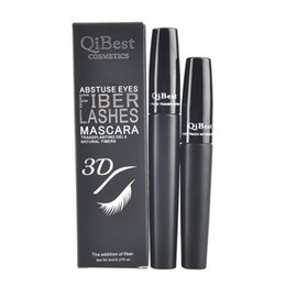DHL 2015 New Mascara QiBest 3D Fiber Lashes Mascara Cosmetics Mascara Black Double Mascara Set Makeup Lash Eyelash Waterproof 100set