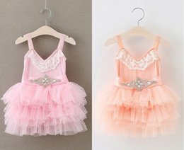 EMS DHL Free Shipping toddler Little Girl's Holiday Dress kids Lace Rhinestone Sash Lace Gauze Princess Layered Tiers Dress