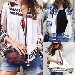 Sexy Women Vintage Retro Ethnic Fashion Jacket Women Printed Blue and White Flower Printed Loose Casual Jacket plus size