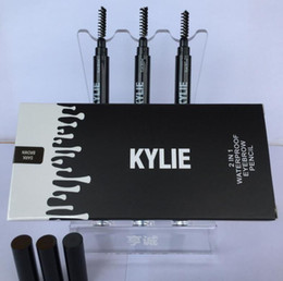 Wholesale 3 Colors Kylie Eyebrow Pencil Women Lady Triangle Waterproof Eyebrow Pencil Eye Brow Pen With Brush Make Up Tools Kylie Jenner