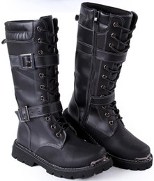 Wholesale Men s Knee High Boots High Top Leather Shoes Punk Buckles Zipper PU Leather Winter Casual Martin Combat Amy Boots US Size