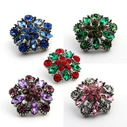 Rhinestone Snaps Chunk Press Buttons 18mm For Snap Jewelry Making Colorful Designed Glass Snap Button Chunk Charms E644L