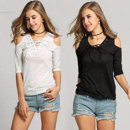2016 fashion new arrival women clothing Lady Casual Off Shoulder Lace Up V-neck Slim Solid Blouse Tops