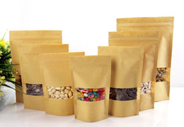nice quality Moisture-proof Bags,Kraft Paper with Visaul Window Stand UP Pouch, Ziplock Packaging Bag for Snack Candy Cookie free shipping
