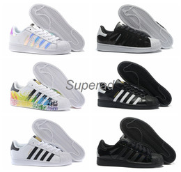 Wholesale 2016 Originals Superstar White Hologram Iridescent Junior Superstars s Pride Sneakers Super Star Women Men Sport Running Shoes