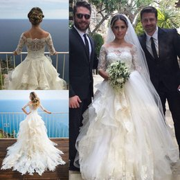 2017 New Design A Line Lace Wedding Dresses Off Shoulder 1 2 Sleeves Tiered Ruffles Floor Length Wedding Bridal Gowns Custom Made