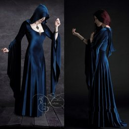 Wholesale Custom Made Blue Prom Dresses Cosplay Halloween Costumes For Women Long Sleeve Scoop Neck Witches Dress Disfraces Christmas adult Custom