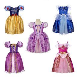 Wholesale Bébés filles robe enfants robe de bal en dentelle Princesse Robe Bow Bubble Jupe plissée bretelles Flower Bud Robes de soirée Vêtements de vacances
