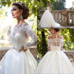 Beach Style A Line Ivory Long Sheer Lace Sleeve Wedding Dresses Court Train Appliques Button Back Custom Made Bridal Wedding Gowns