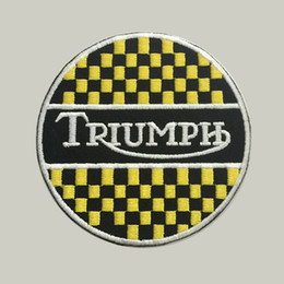 Triumph custom logo patch iron on cloth hat or bag free shipping can be custom embroidery factory in china