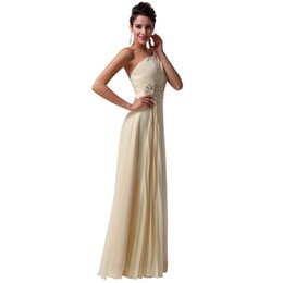 One shouler long prom dresses 2019 crystal backless chiffon light yellow formal dress beautiful women party vestido Cheap Prom Party Dresses