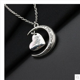 silver plated heart pendant i love you to the moon necklace fashion jewelry Valentine's Day gift Free shipping