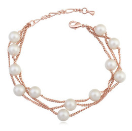 Bracelets For Women Fashion High Quality Pearls 18K Gold Plated 3-layer Chains Bracelets Jewelry Wholesale Drop Shipping TBR015