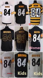 Wholesale 84 Antonio Brown Black White Yellow Golden Cheap Elite Football jerseys Men Women Youth Kids Embroidery Logo Mix Order