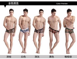 Wholesale Sexy Men Boxer Shorts jock scrap Breathable Camouflage print Men mens mesh gay Underwear Homme Plus Size CL7296