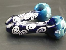 "4.3"" length Spiral Glass bowls Pipe mini smoking pipe glasses Bongs 1170005 tobacco pipe Glass white flower waterpipe"