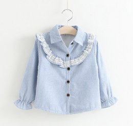 Wholesale 2016 Baby Girls Lace Striped Shirts Kids Girl Princess Ruffle Blouse Girl Autumn Christmas Jumper Tops Babies Clothes