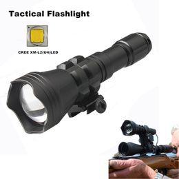 CREE XM-L2(U4)LED tactical Gun flashlight zoomable led flashlight 18650 waterproof zoom torch waterproof zooming flashlight- B158