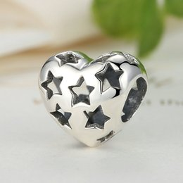 Starry Hearts Charms in Genuine 925 Sterling Silver for Pandora Style DIY Beaded Charm Bracelets S288