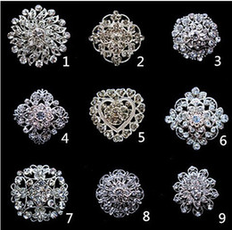 Wholesale 12pcs Inch Sparkly Silver Clear Rhinestone Crystal Diamante Flower Pins Wedding Cake Bouquet Pin Brooch Mixed Designs
